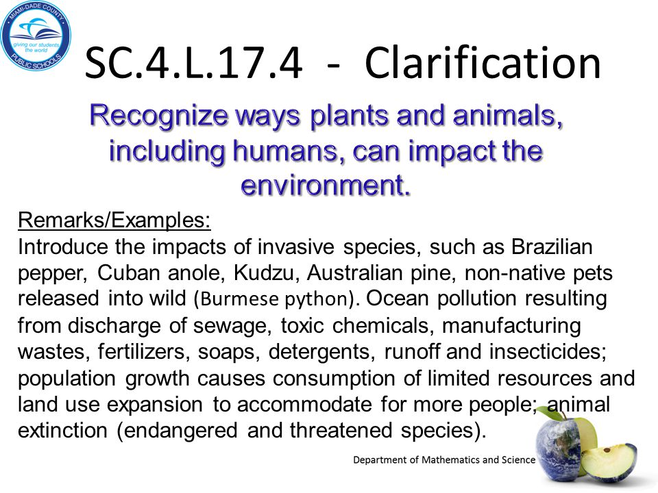 SC.4.L.17.4 - Clarification Recognize ways plants and animals, including humans, can impact the environment.