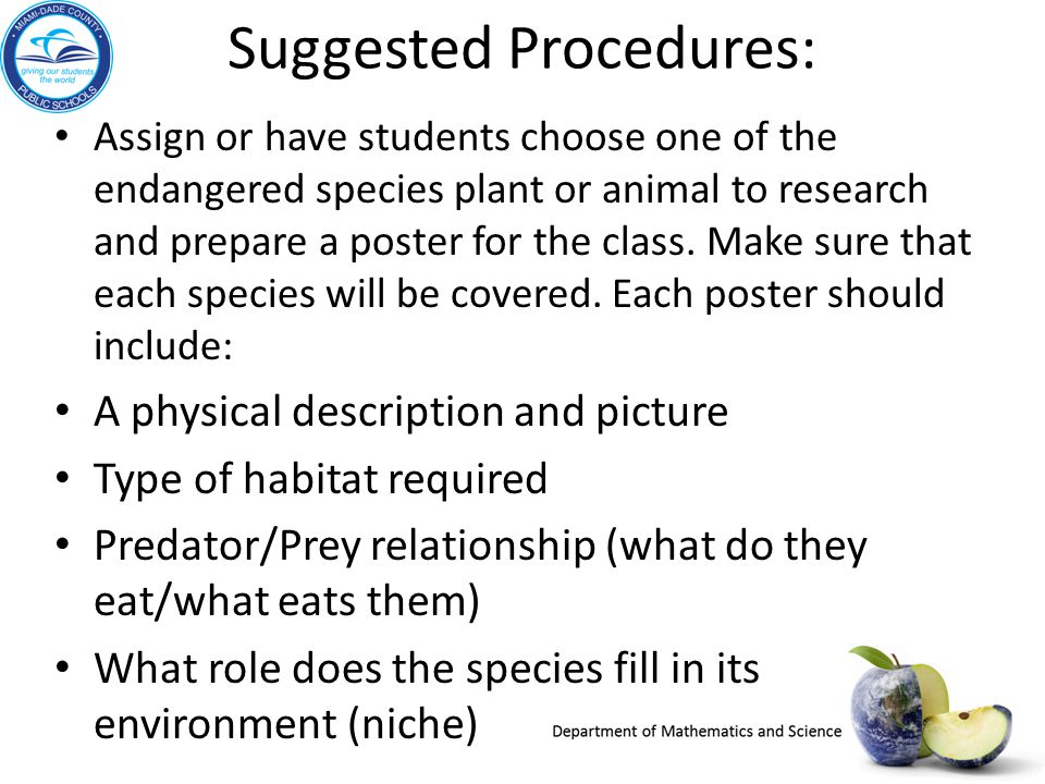 Suggested Procedures: