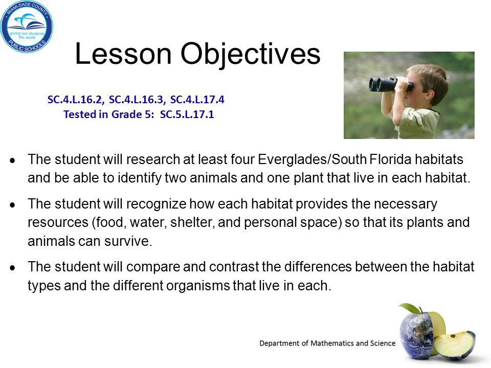 Lesson Objectives SC.4.L.16.2, SC.4.L.16.3, SC.4.L.17.4. Tested in Grade 5: SC.5.L.17.1.