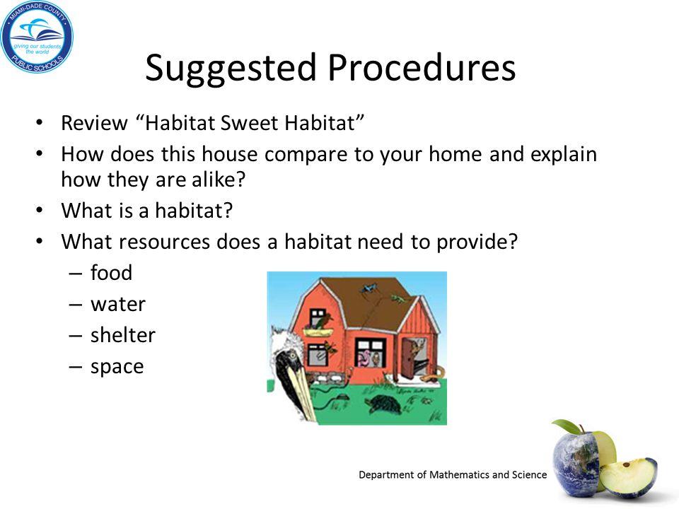 Suggested Procedures Review Habitat Sweet Habitat