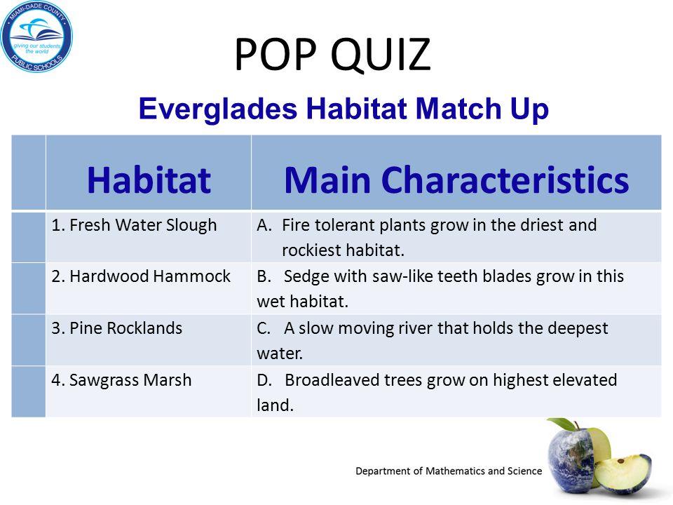 Everglades Habitat Match Up