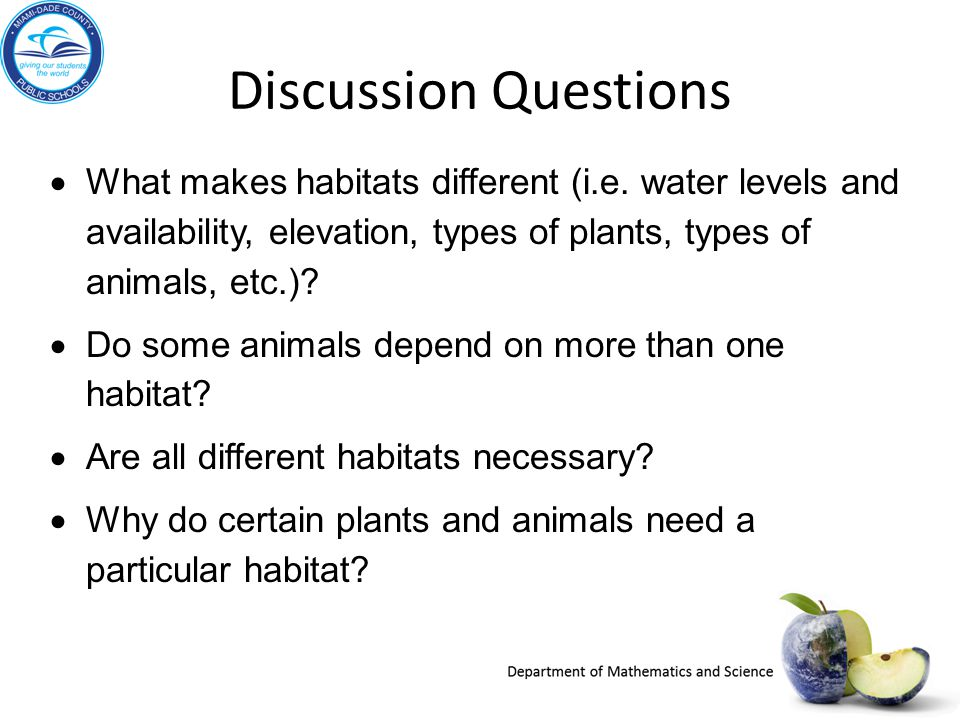 Discussion Questions What makes habitats different (i.e. water levels and availability, elevation, types of plants, types of animals, etc.)