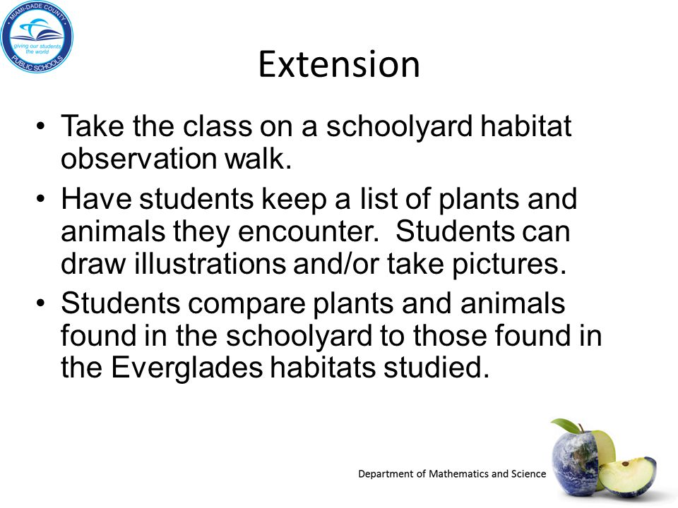 Extension Take the class on a schoolyard habitat observation walk.