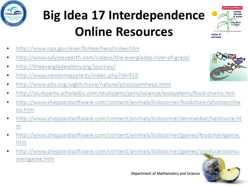 Big Idea 17 Interdependence Online Resources