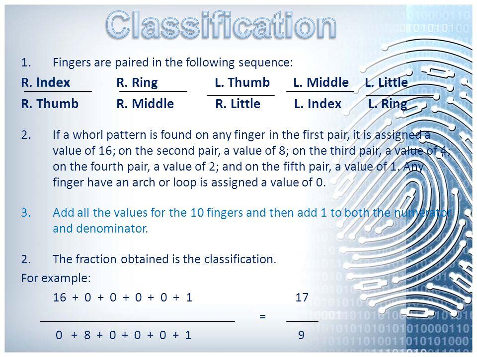 Classification R. Index R. Ring L. Thumb L. Middle L. Little