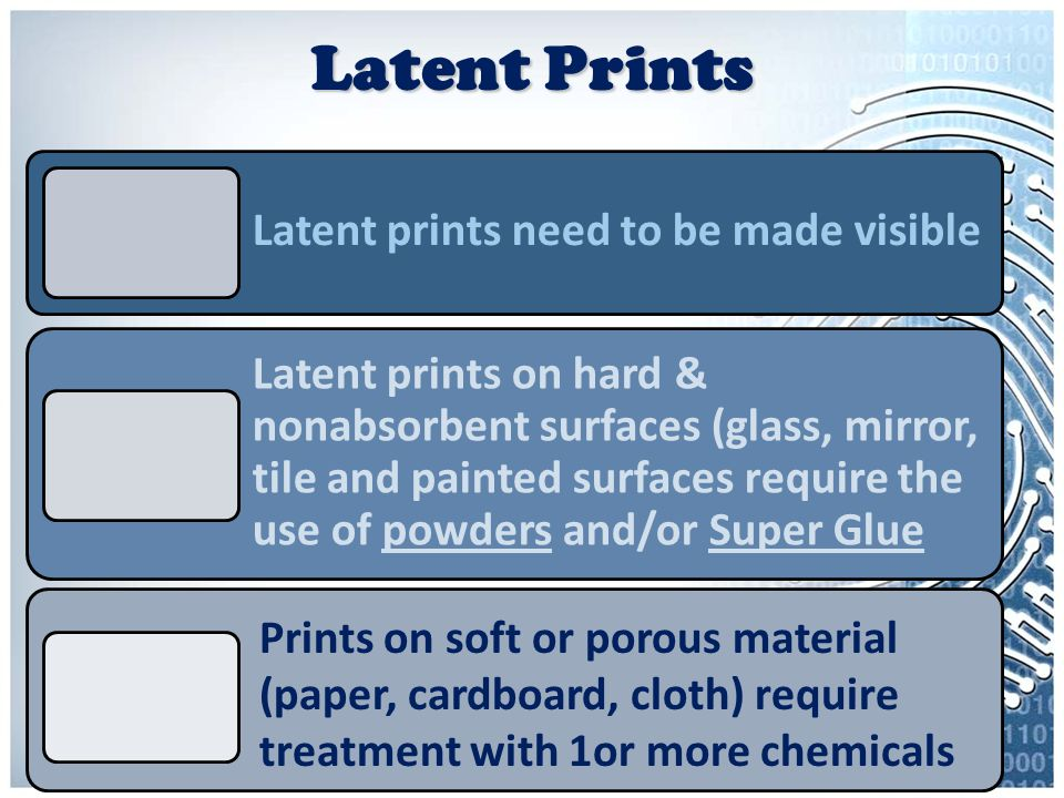 Latent Prints Latent prints need to be made visible