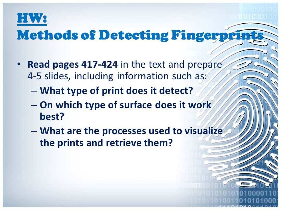 HW: Methods of Detecting Fingerprints