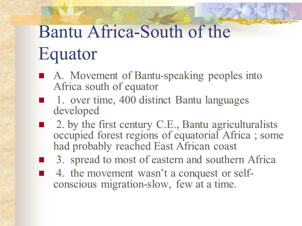 Bantu Africa-South of the Equator