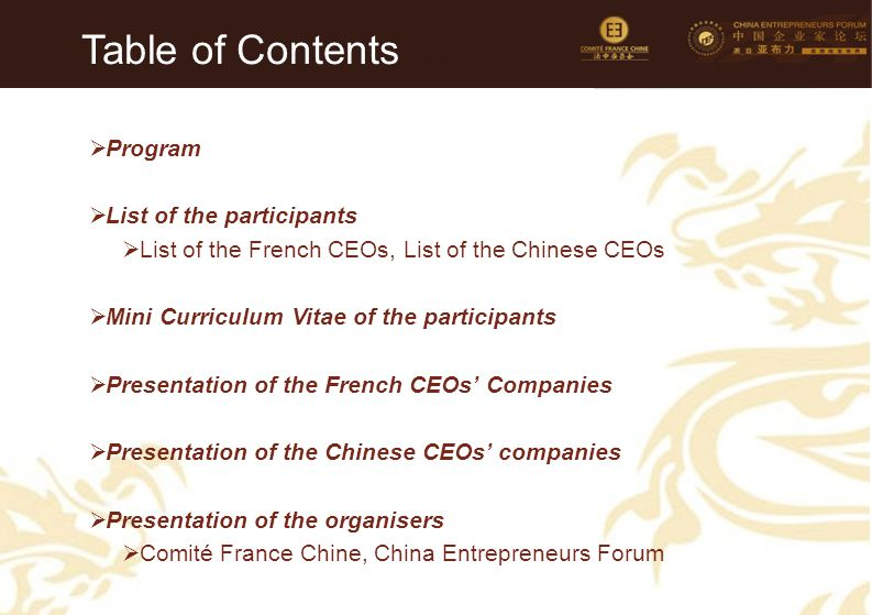 Table of Contents Program List of the participants
