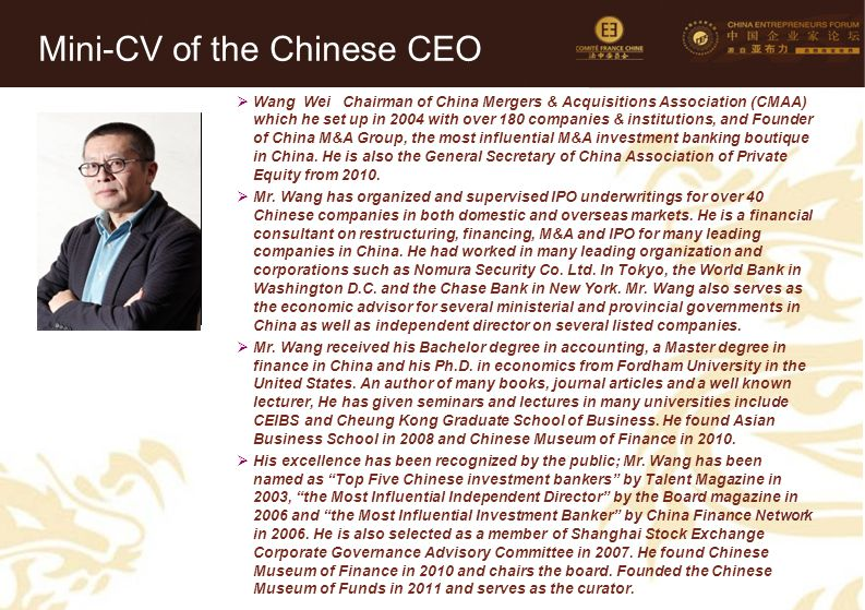 Mini-CV of the Chinese CEO