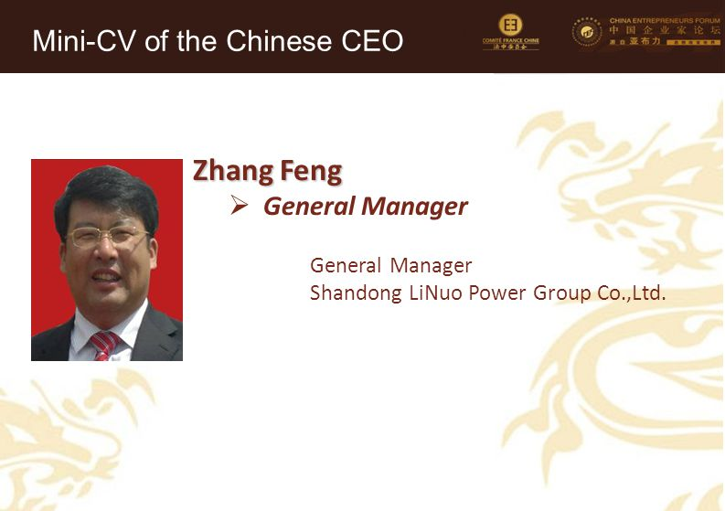 Zhang Feng Mini-CV of the Chinese CEO General Manager
