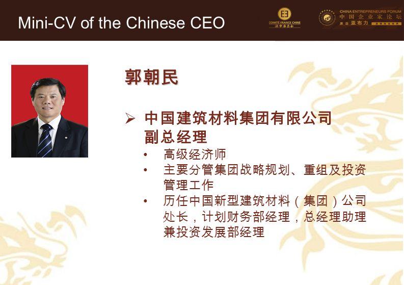 郭朝民 Mini-CV of the Chinese CEO 中国建筑材料集团有限公司 副总经理 高级经济师