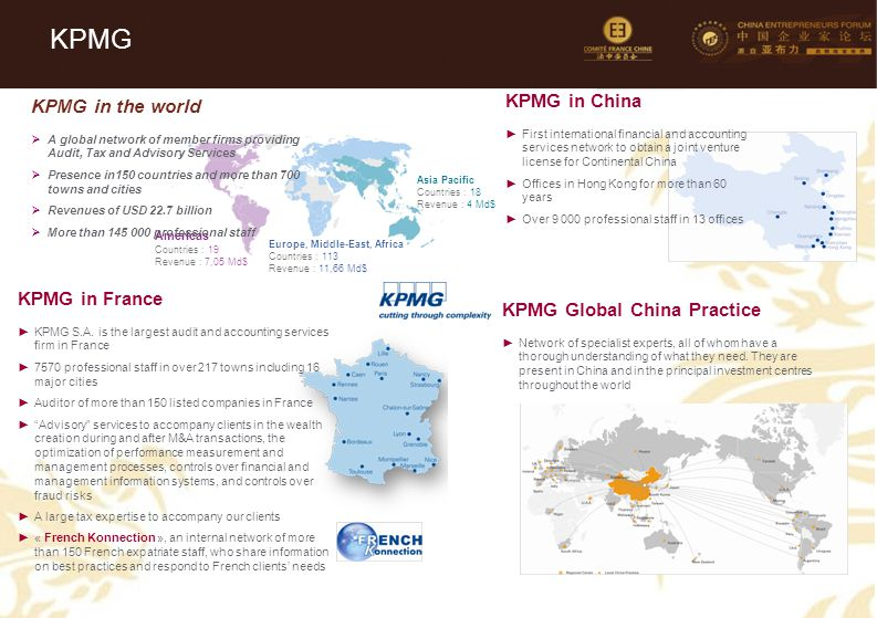 KPMG KPMG in China KPMG in the world KPMG in France