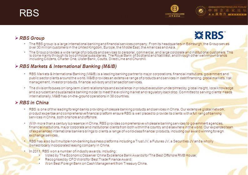 RBS RBS Group RBS Markets & International Banking (M&IB) RBS in China
