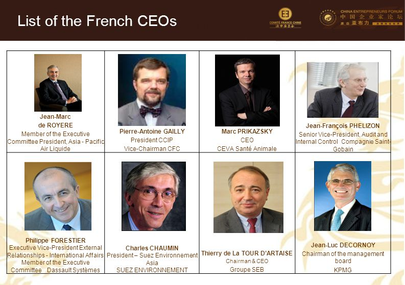 List of the French CEOs Jean-Marc de ROYERE