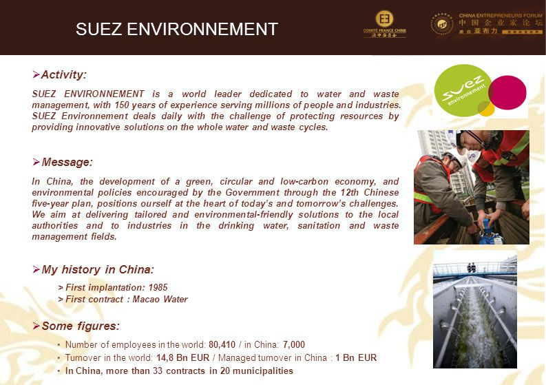 SUEZ ENVIRONNEMENT Activity: Message: My history in China: