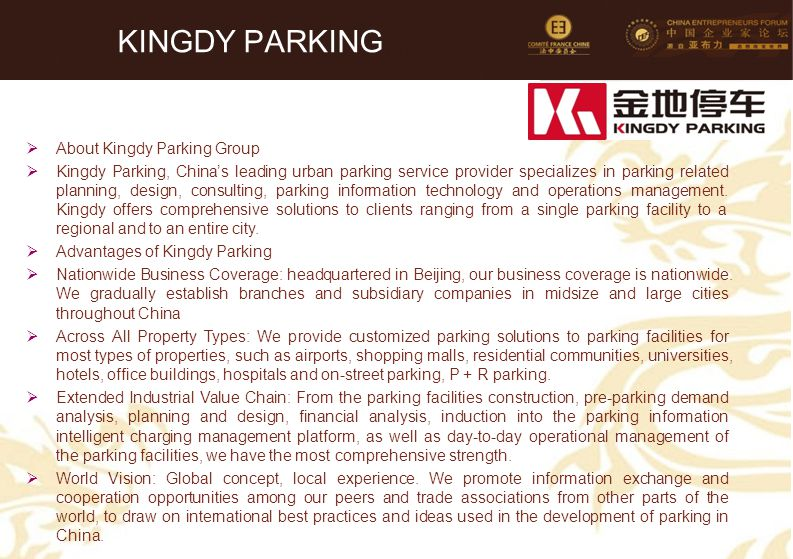 KINGDY PARKING About Kingdy Parking Group