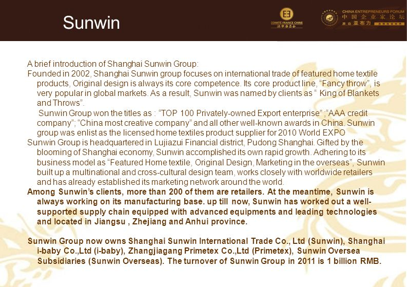 Sunwin A brief introduction of Shanghai Sunwin Group:
