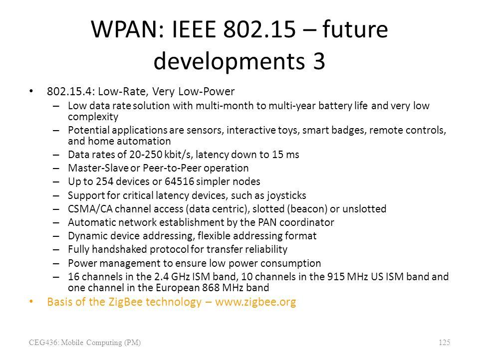 WPAN: IEEE 802.15 – future developments 3