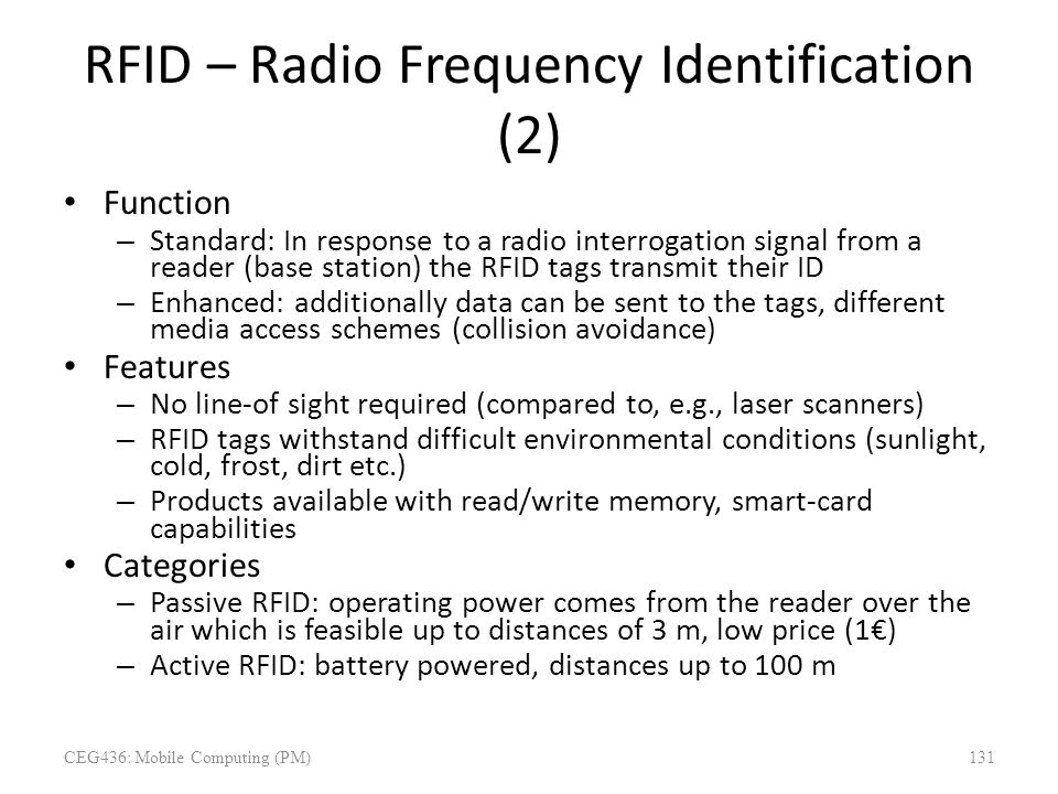 RFID – Radio Frequency Identification (2)