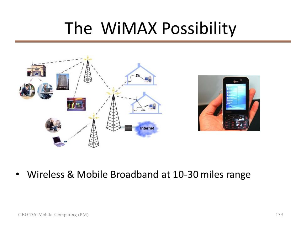 The WiMAX Possibility Wireless & Mobile Broadband at 10-30 miles range