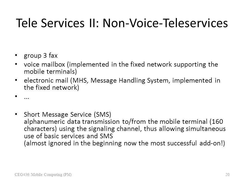Tele Services II: Non-Voice-Teleservices