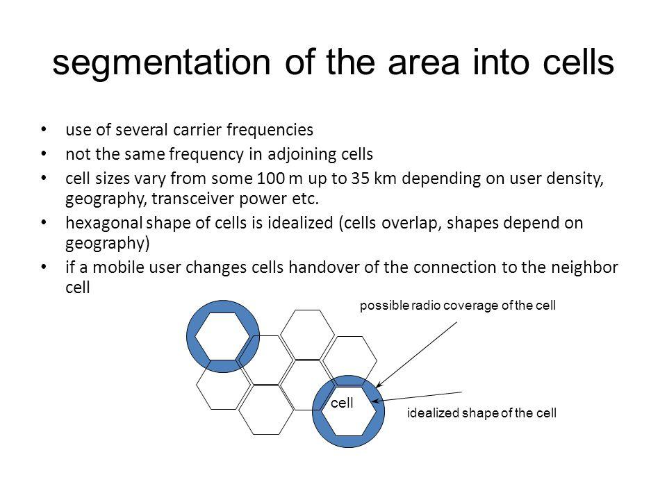segmentation of the area into cells
