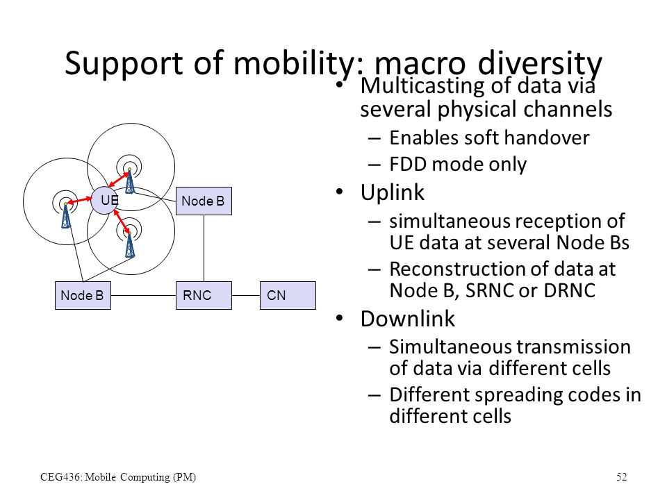Support of mobility: macro diversity