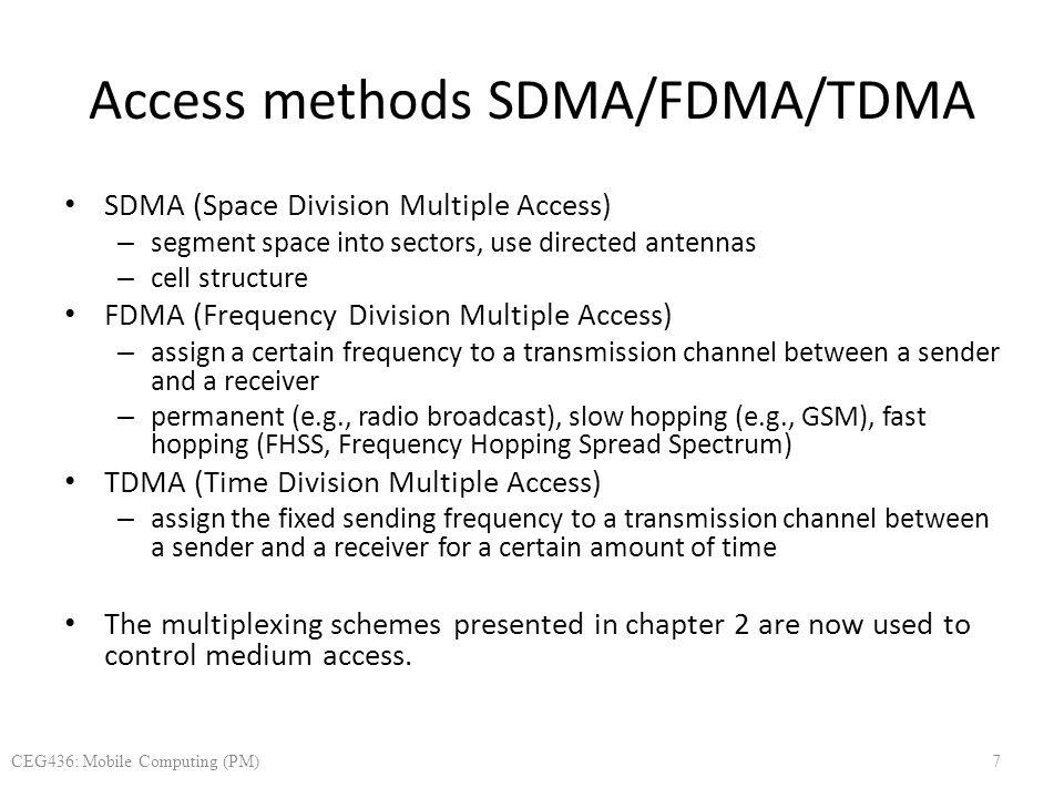 Access methods SDMA/FDMA/TDMA