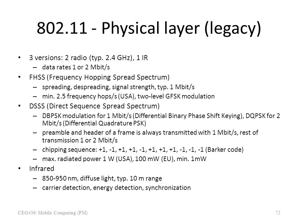802.11 - Physical layer (legacy)