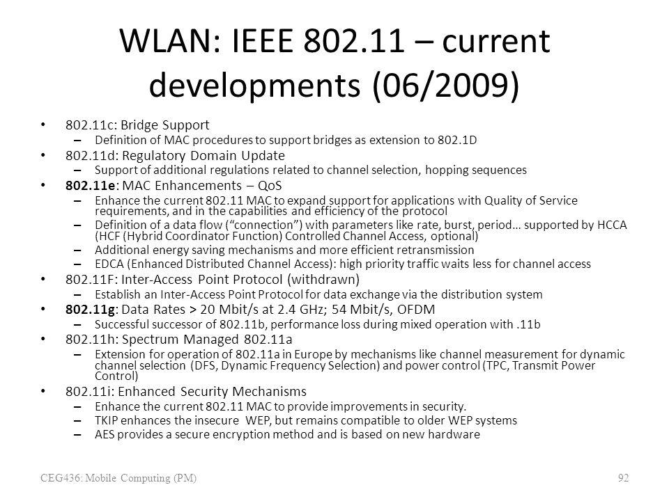 WLAN: IEEE 802.11 – current developments (06/2009)