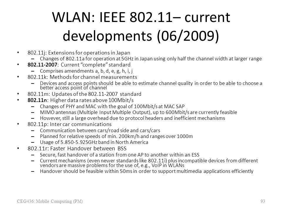 WLAN: IEEE 802.11– current developments (06/2009)