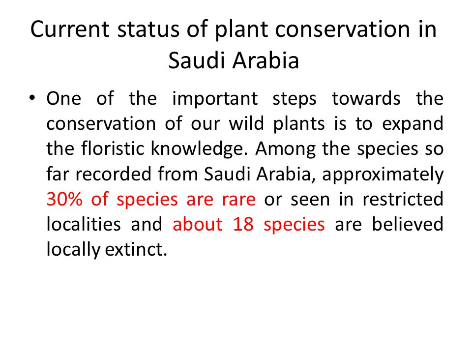 Current status of plant conservation in Saudi Arabia