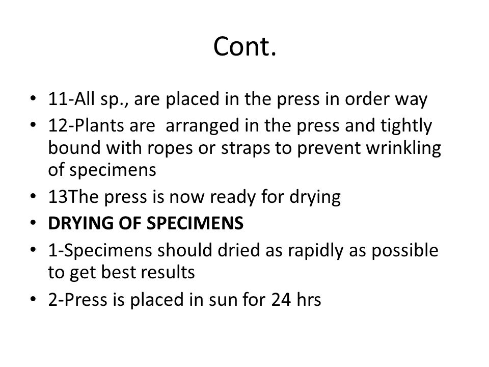 Cont. 11-All sp., are placed in the press in order way
