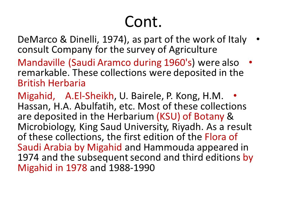 Cont. DeMarco & Dinelli, 1974), as part of the work of Italy consult Company for the survey of Agriculture.