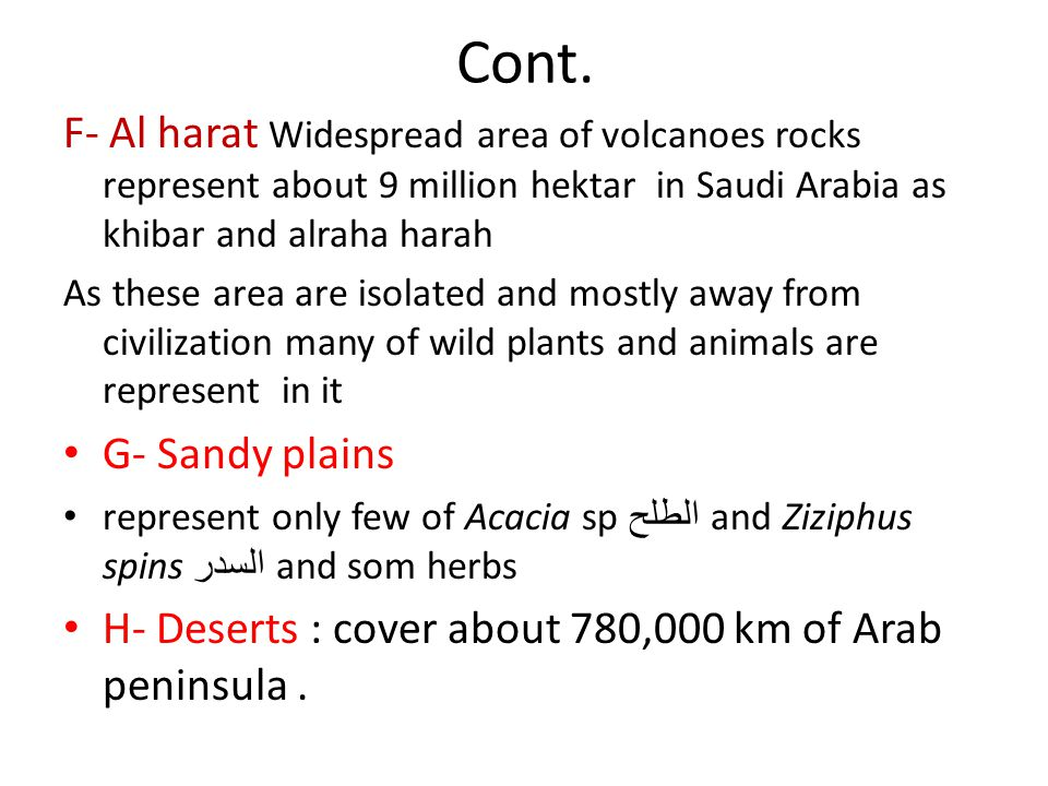 Cont. F- Al harat Widespread area of volcanoes rocks represent about 9 million hektar in Saudi Arabia as khibar and alraha harah.