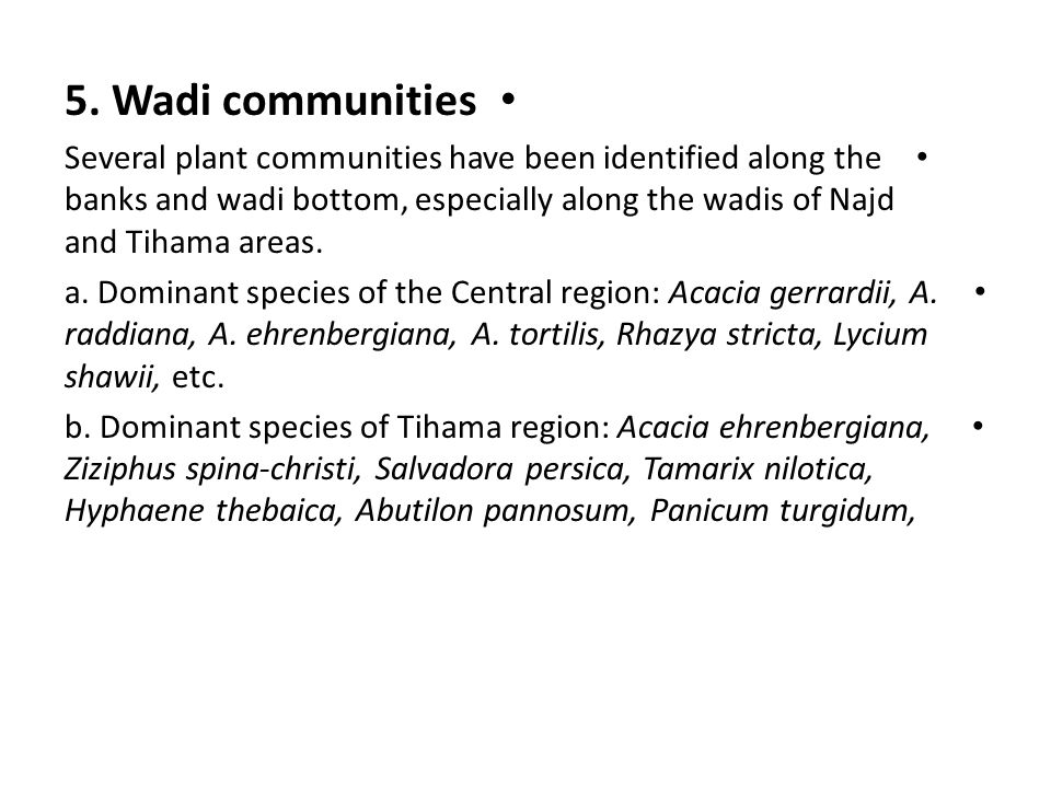 5. Wadi communities