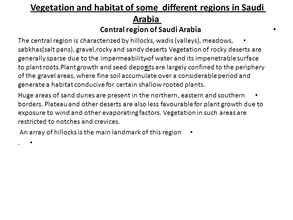Vegetation and habitat of some different regions in Saudi Arabia -