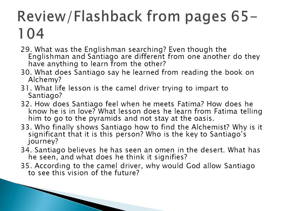 Review/Flashback from pages 65-104