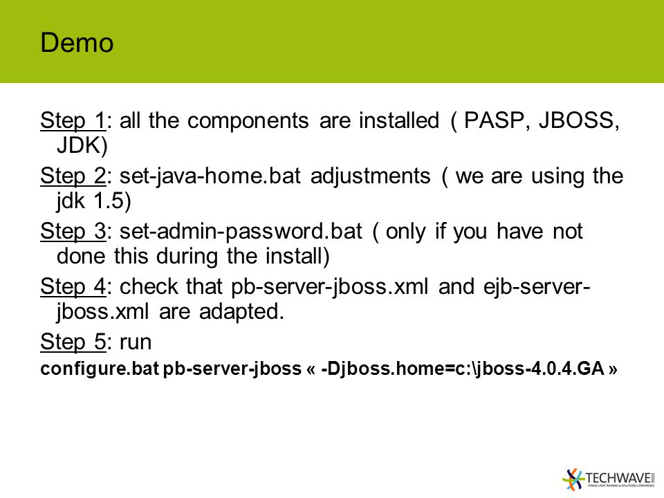 Demo Step 1: all the components are installed ( PASP, JBOSS, JDK)