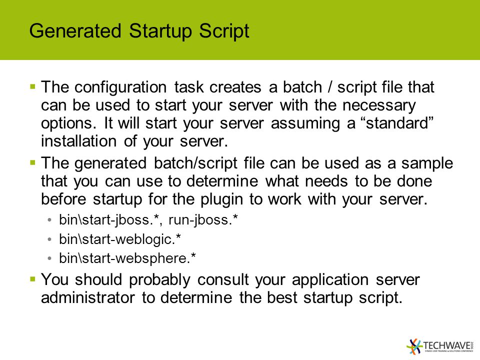 Generated Startup Script