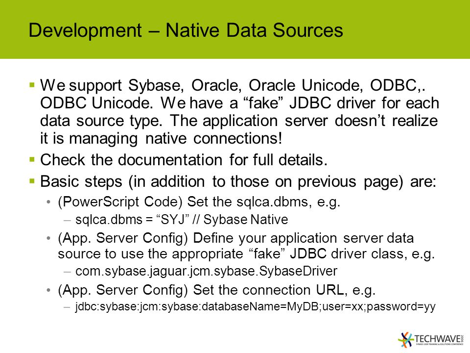 Development – Native Data Sources