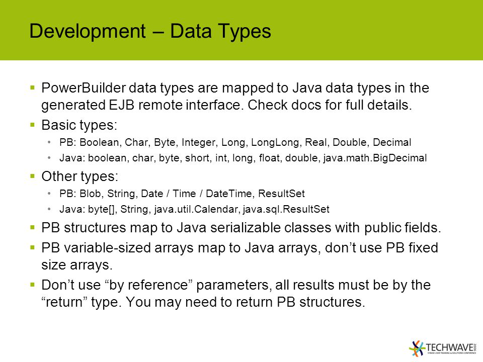 Development – Data Types