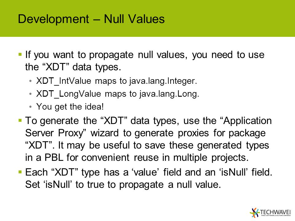 Development – Null Values