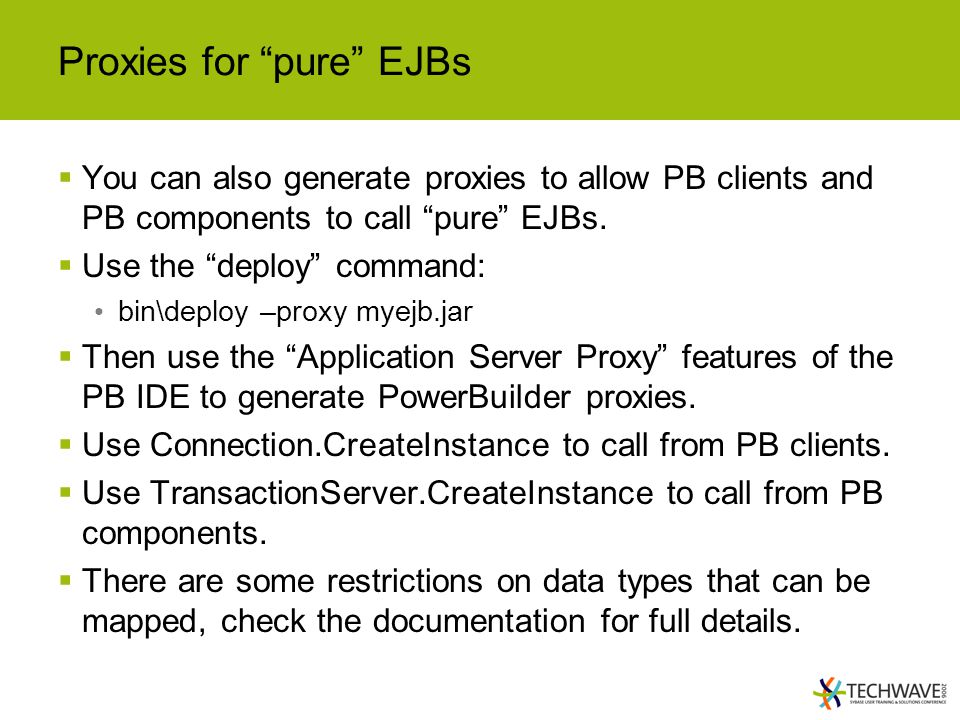 Proxies for pure EJBs