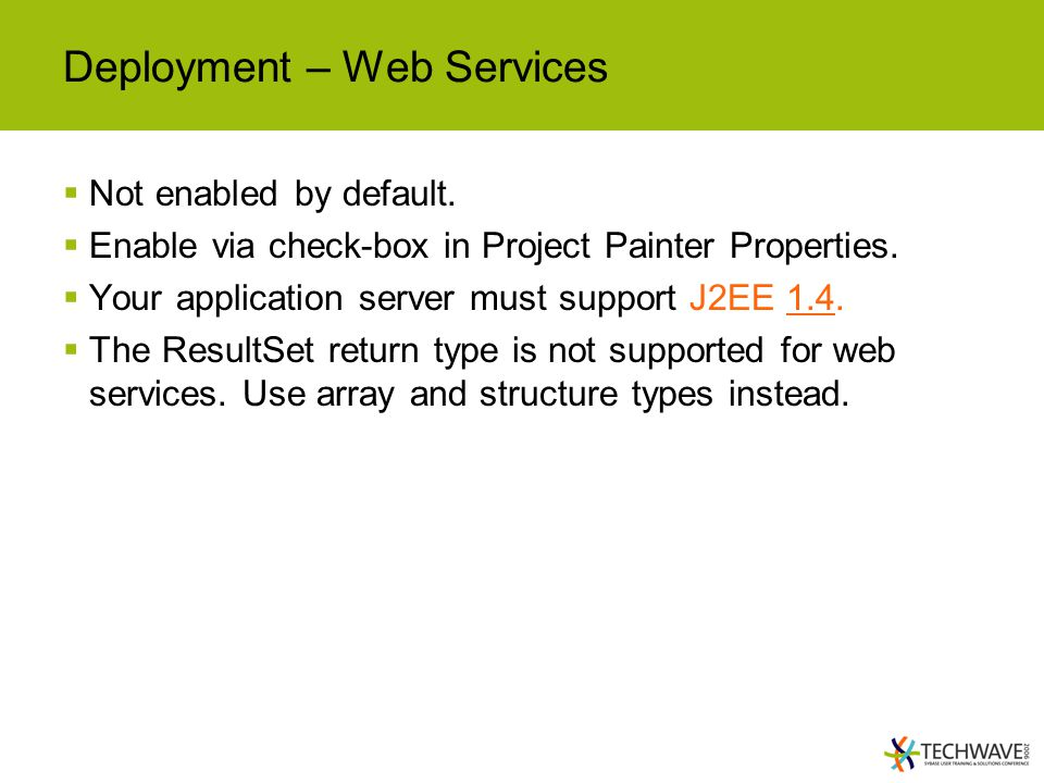 Deployment – Web Services