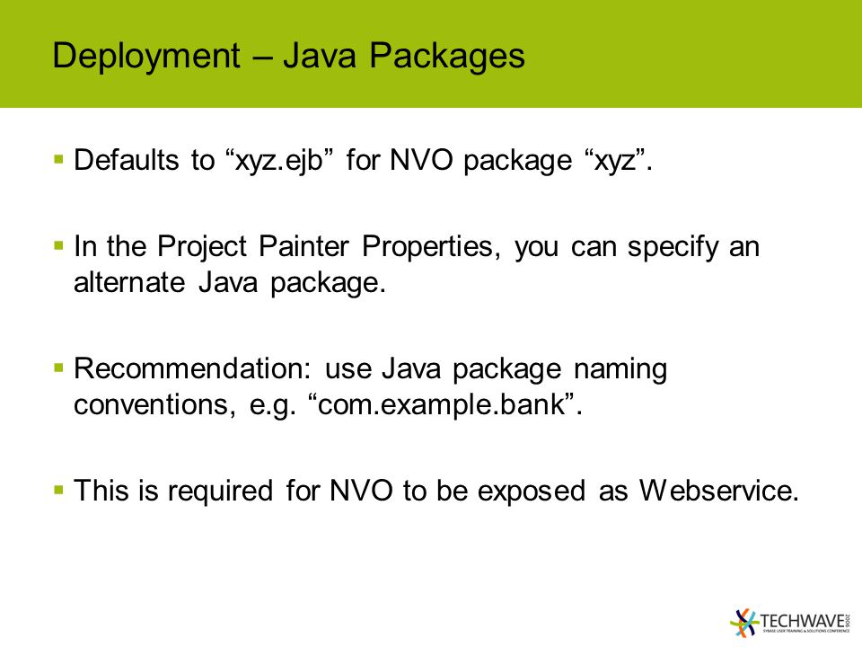 Deployment – Java Packages