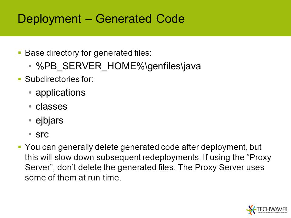 Deployment – Generated Code