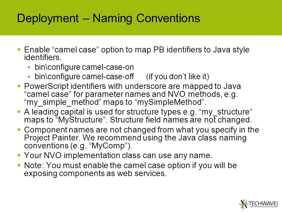 Deployment – Naming Conventions