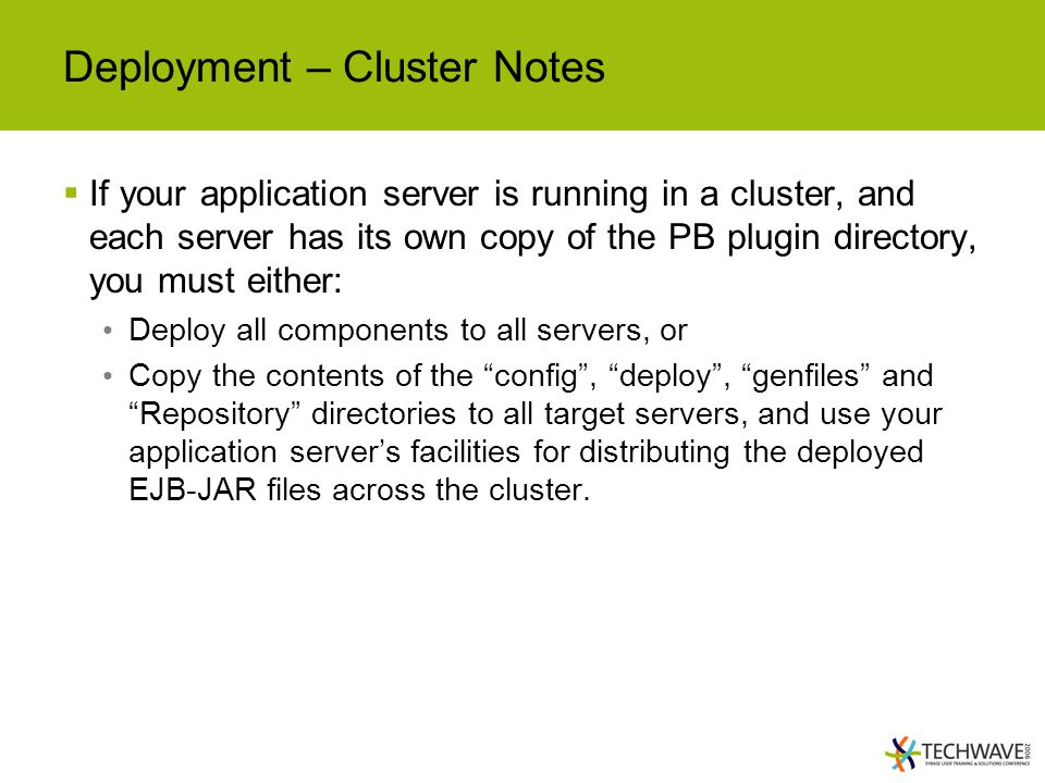 Deployment – Cluster Notes